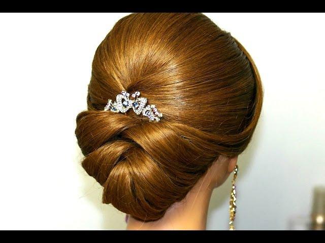 Wedding hairstyle for medium long hair. Bridal updo