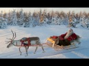 Santa Claus and Reindeer on the road Lapland Finland Rovaniemi real Father Christmas for kids