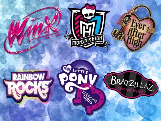 Winx club, Monster High, Ever After High, Equestria Girls, Rainbow Rock, Bratzillaz