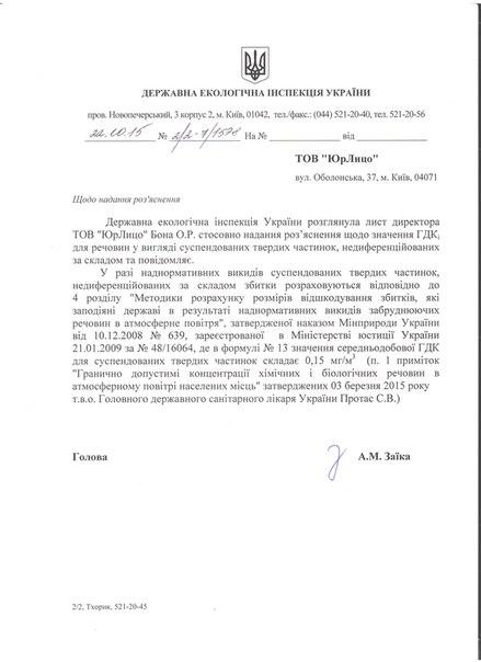 Разъяснения Госэкоинспекции Украины