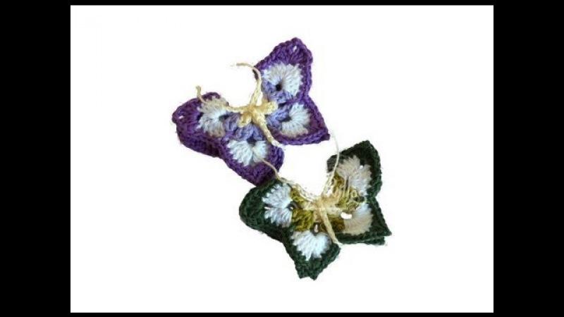Tutorial Mariposa Crochet o Ganchillo Butterfly English subtitles