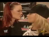 Lita, Trish Stratus and Nidia backstage - RAW 9.6.2004