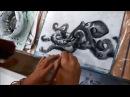 Японская живопись суми-э. Художник Катерина Чёрная. Осьминог