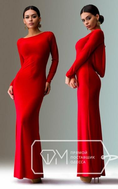 Длинное красное платье спина