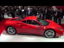 [4k] Red Ferrari 488 GTB exterior, interior and engine Geneva 2015