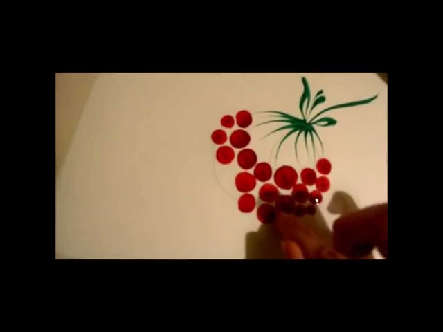 урок Петриковской росписи рисуем калину пальцами Petrikovka Ukraine