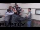 Turks vs Kurds in brutal Frankfurt street-fight Knives bottles brandished