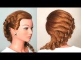 Прическа: плетение косы из 4-х прядей. Braided Hairstyle For Long Hair