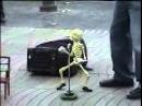 Skeleton puppet dances the twist