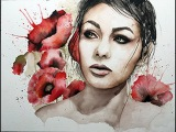 Watercolor speed painting poppies portrait
