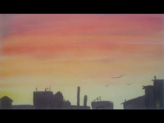 Рисуем Силуэт города гуашью [Картина за 3 минуты!]