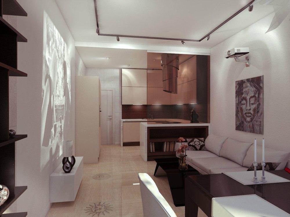 Проект квартиры Г-планировки 43 м с присоединенной лоджией.
