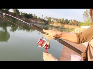 Girl have the force a man grappling with a fish imagine it-fishing videos