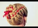 Прическа плетение косы из 4 прядей с лентой 4 Strand Braid