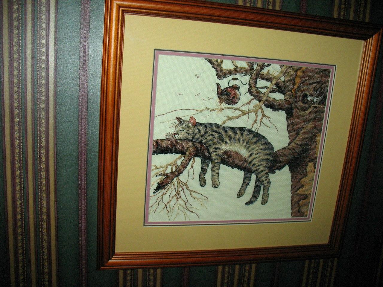 Вышивка кота на дереве схема