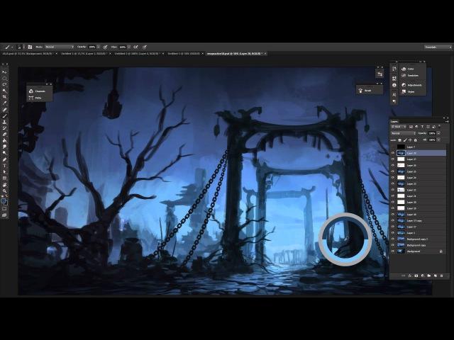Digital Painting - Dark Fantasy I Landscape Concept Art - Time Lapse