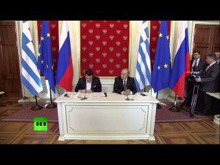Пресс-конференция Владимира Путина и премьер-министра Греции Алексиса Ципраса