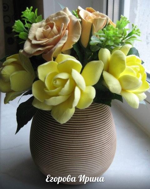 Цветы из полимерной глины (4 фото) - картинка