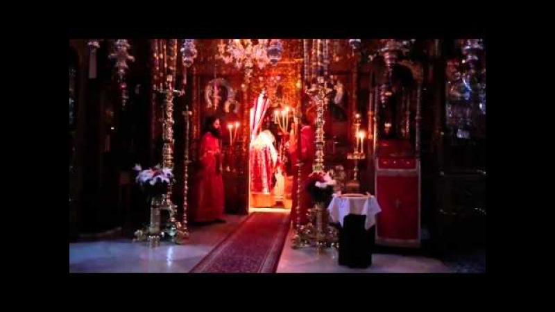 Афон. Праздничная Божественная Литургия архиерейским чином в монастыре Дохиар.