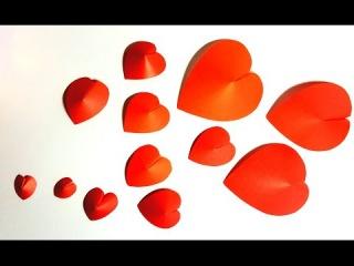 Как просто сделать красивые объемные сердечки из бумаги / Поделки ко Дню Влюбленных