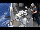 US Sailors Firing the Powerful Mk38 M242 Bushmaster on a Boat