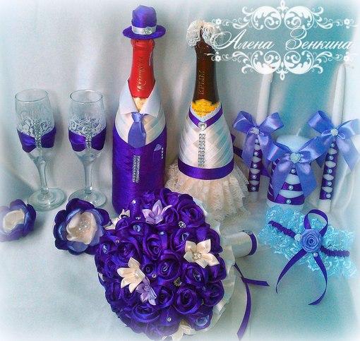 Как украсить бутылку и бокалы на свадьбу своими руками фото