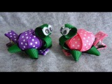 TINY 3D TURTLE Ribbon Sculpture Zoo Animal Girls Hair Clip Bow DIY Free Tutorial by Lacey