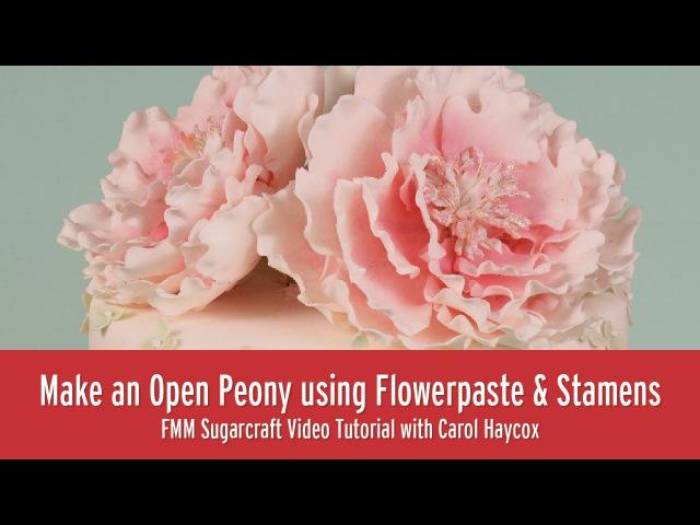 (vk.com/lakomkavk) How to Make an Open Peony using Flowerpaste and Stamens