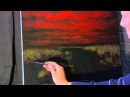 Sunset Stormy Stream time lapse acrylic landscape painting by Tim Gagnon