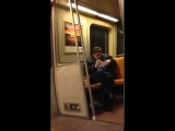 Drunk man on train sings Get Low by Lil jon