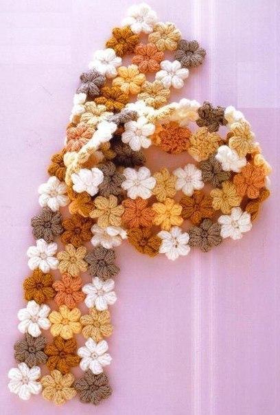 Цветочный шарфик. Схема на
