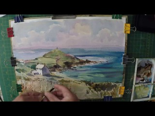 Learn to paint Blue Sea, beach, Clouds and Cottages Cape Cornwall Watercolour Demonstration