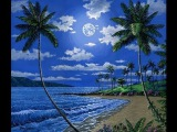 How To Paint A Moonlit Beach in Kapalua Maui Hawaii Complete Painting Lesson Art Class On Canvas