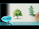 How to Paint Tree Studies in Watercolor – Detailed Shapes