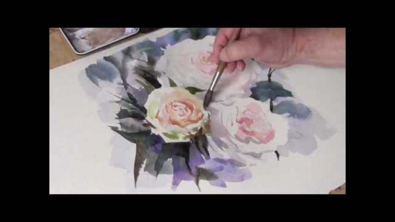 How To Paint Watercolour White Roses by Trevor Waugh
