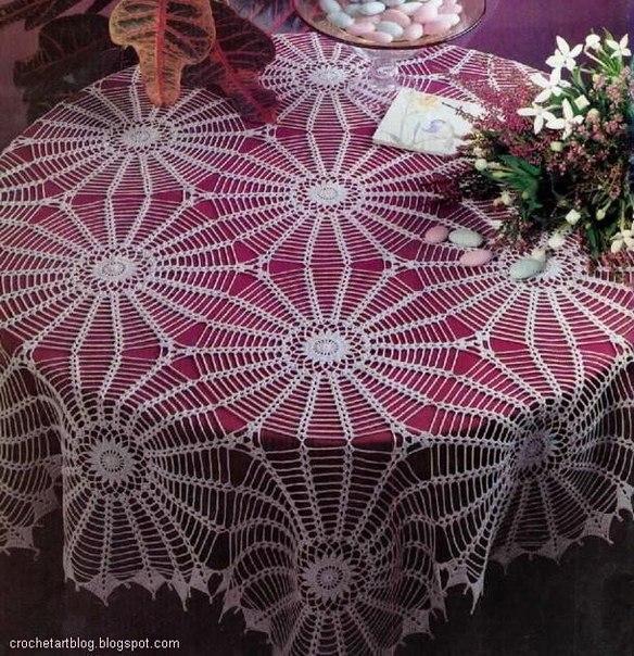 Delicadezas en crochet Gabriela: Maravilloso mantel de motivos ...