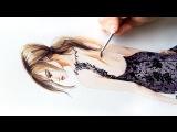Как нарисовать девушку в кружевном платье акварелью