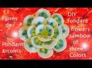 DIY flores de fondant arcoiris de tres colores fondant flowers rainbow of three colors