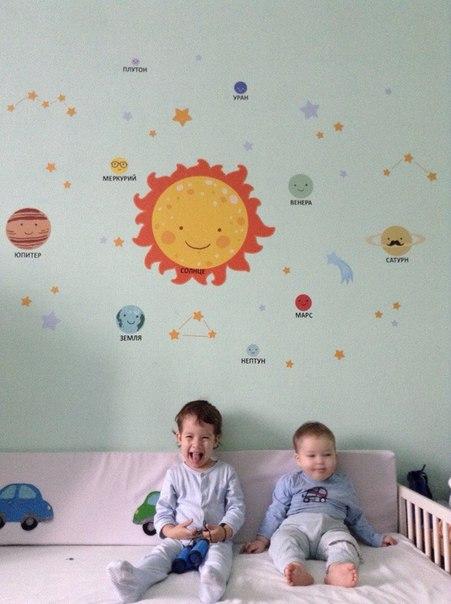 наклейка на стену в детскую солнце планет звезды фото