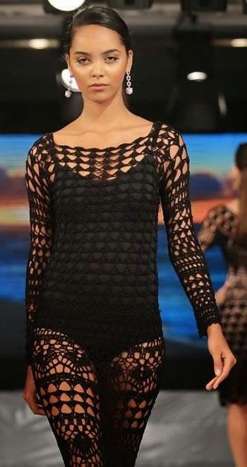 Стильное вязаное платье от Шанель. Вязание 63