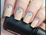 Нежный Дизайн Ногтей с Блестками | Easy Glitter Rhinestones Nail Art