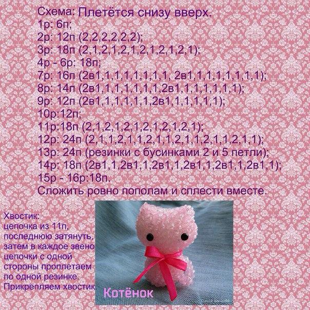 Схема плетения зайца из резинок