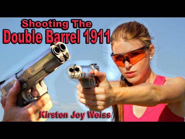 Girl Shooting Double Barrel 1911 - First Time| Resident Evil James Bond Gun | Kirsten Joy Weiss
