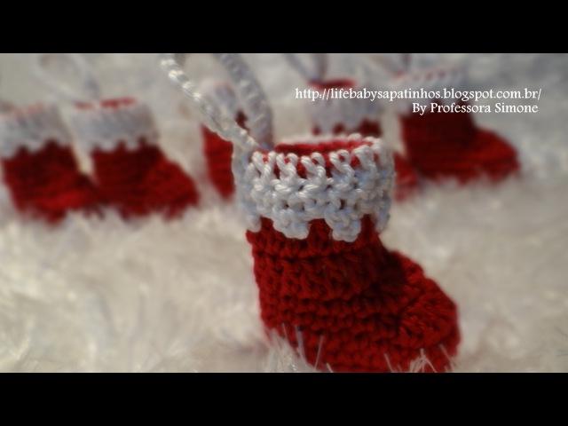 Pingente Botinha Papai Noel em Crochê