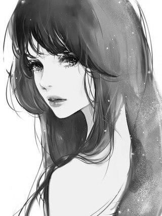 Аниме арт девушка с чёрными волосами