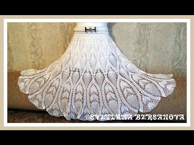 Вяжем вместе - юбка с ананасами.Часть 5. knitted crochet skirt
