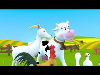 Домашние животные для детей. На ферме. Песенка - мультик про голоса животных. Кто как говорит