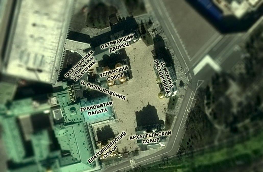 Карта Соборной площади Московского Кремля