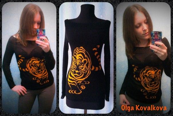 Кофточка с тигром и платье с ящерицей мои работы… (2 фото) - картинка
