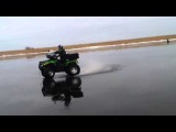 Ice quadro dancing (CFmoto X8, Arctic Cat) - Pskov, Chudskoe lake